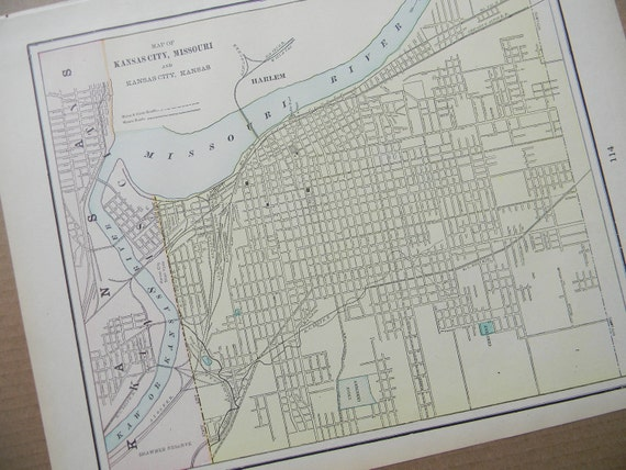 1898 City Map Kansas City Missouri - Vintage Antique Map Great for Framing 100 Years Old