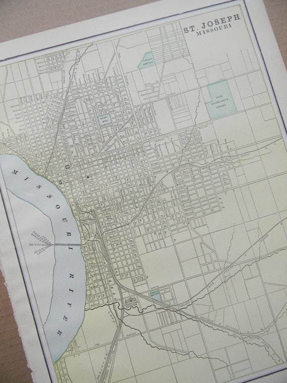 1898 City Map St. Joseph Missouri - Vintage Antique Map Great for Framing 100 Years Old