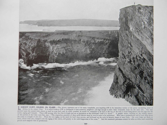 1898 Photography of Ireland - Kilkee Lookout Cliff Clare County - Antique Victorian Era Fine Art for Framing 100 Years Old