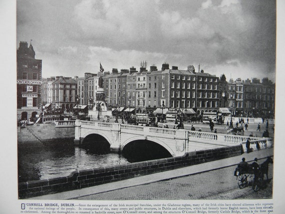 1898 Photography of Ireland - O'Connell Bridge Dublin - Antique Victorian Era Fine Art for Framing 100 Years Old