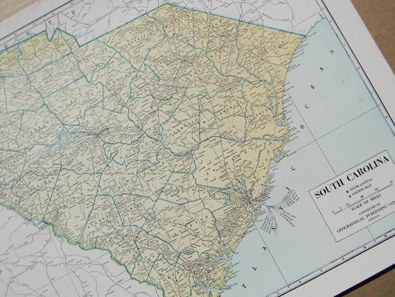 1945 State Map South Carolina - Vintage Antique Geography Print Art Illustration Map Great for Framing