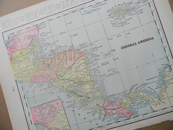 CLEARANCE SALE was 18 Bucks - 1898 Map Central America - Vintage Antique Map Great for Framing 100 Years Old