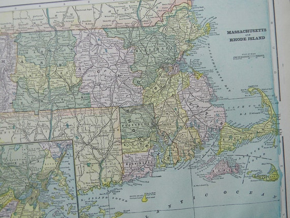 CLEARANCE SALE was 18 Bucks - 1898 State Map Massachusetts and Rhode Island - Vintage Antique Map Great for Framing 100 Years Old