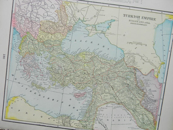 CLEARANCE SALE was 18 Bucks - 1898 Map Turkish Empire - Vintage Antique Map Great for Framing 100 Years Old