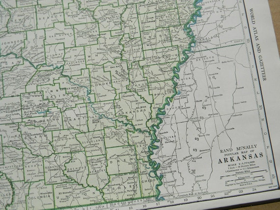 1945 State Map Arkansas - Vintage Antique Map Great for Framing