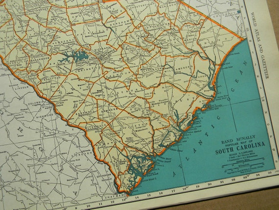 1940 State Map South Carolina - Vintage Antique Map Great for Framing