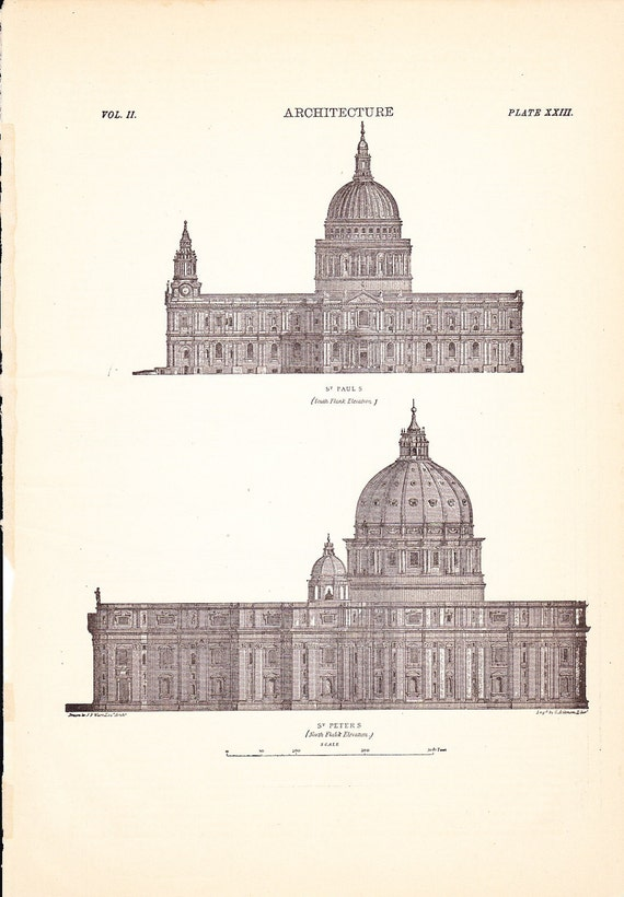 1901 Artichitecture Church Print - St. Paul and St. Peter - Vintage Antique Art Illustration History Great for Framing 100 Years Old