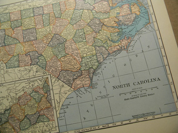 1925 State Map North Carolina - Vintage Antique Map Great for Framing