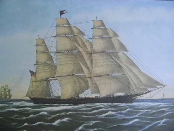 1952 Currier and Ives Clipper Ship Print - Flying Cloud - Vintage Americana Folk Art Illustration