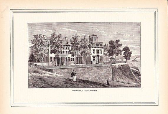 1883 Architectural Print - Bordentown Female College - Antique Art Illustration 100 Years Old
