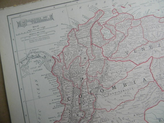 1911 Map Columbia and Venezuela - Vintage Antique Map Great for Framing 100 Years Old