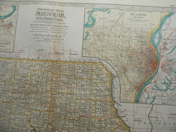 1897 State Map Northern Missouri - Vintage Antique Map Great for Framing 100 Years Old