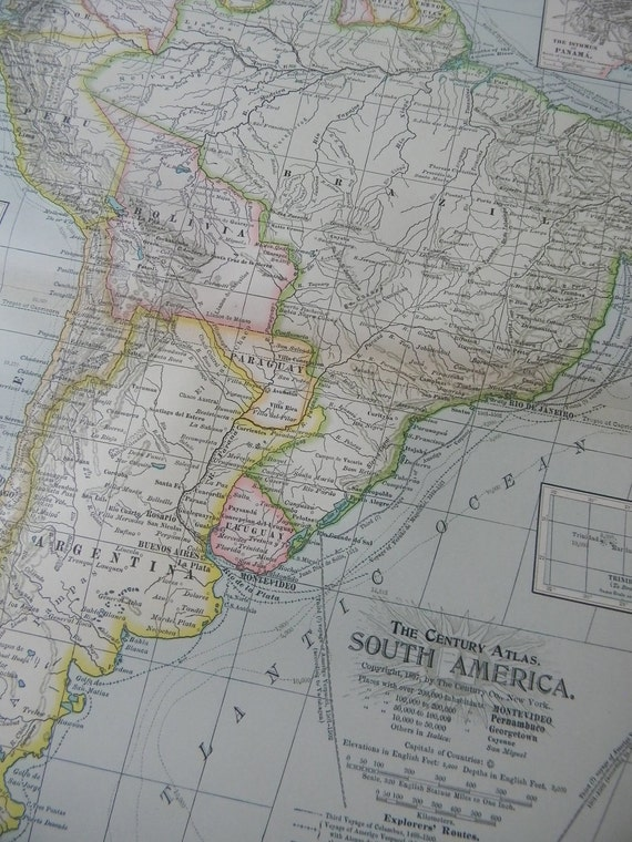 1897 Map South America - Vintage Antique Map Great for Framing 100 Years Old