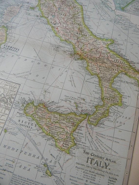 1897 Map Italy - Vintage Antique Map Great for Framing 100 Years Old
