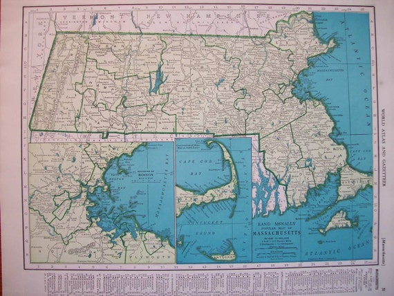 1945 State Map Massachusetts - Vintage Antique Map Great for Framing