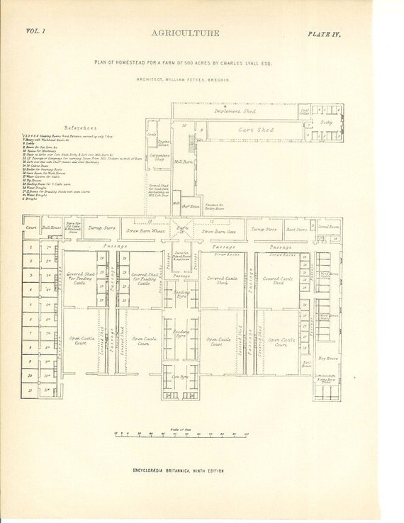 1899 Architecture Print - Farm Homestead - Vintage Antique Art Illustration History Geography Great for Framing 100 Years Old
