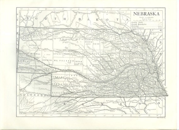1911 State Map Nebraska - Vintage Antique Map Great for Framing 100 Years Old