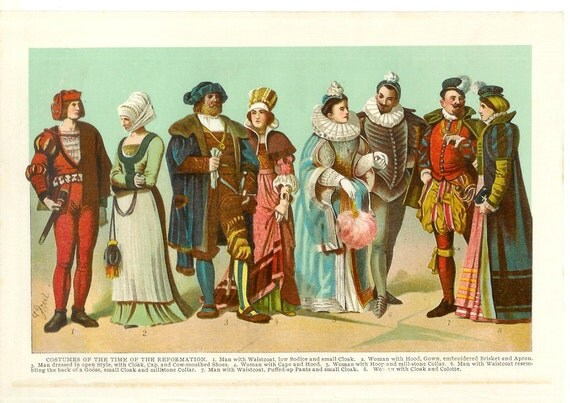 1902 Fashion Print - Reformation Costumes - Vintage Antique Art Illustration Book Plate Great for Framing 100 Years Old