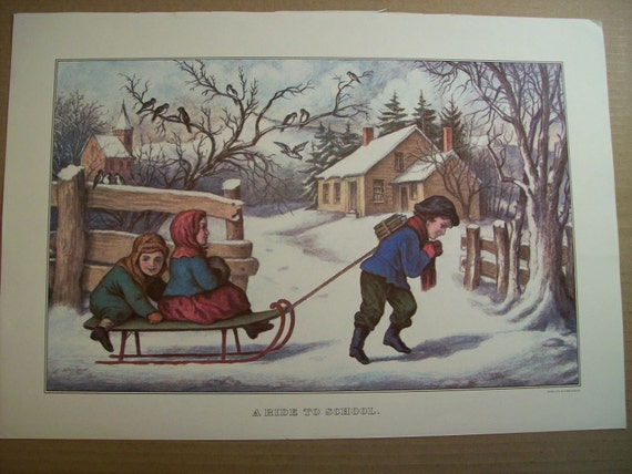 Currier and Ives Calendar Print - Ride to School - Vintage Americana Folk Art Illustration Great for Framing