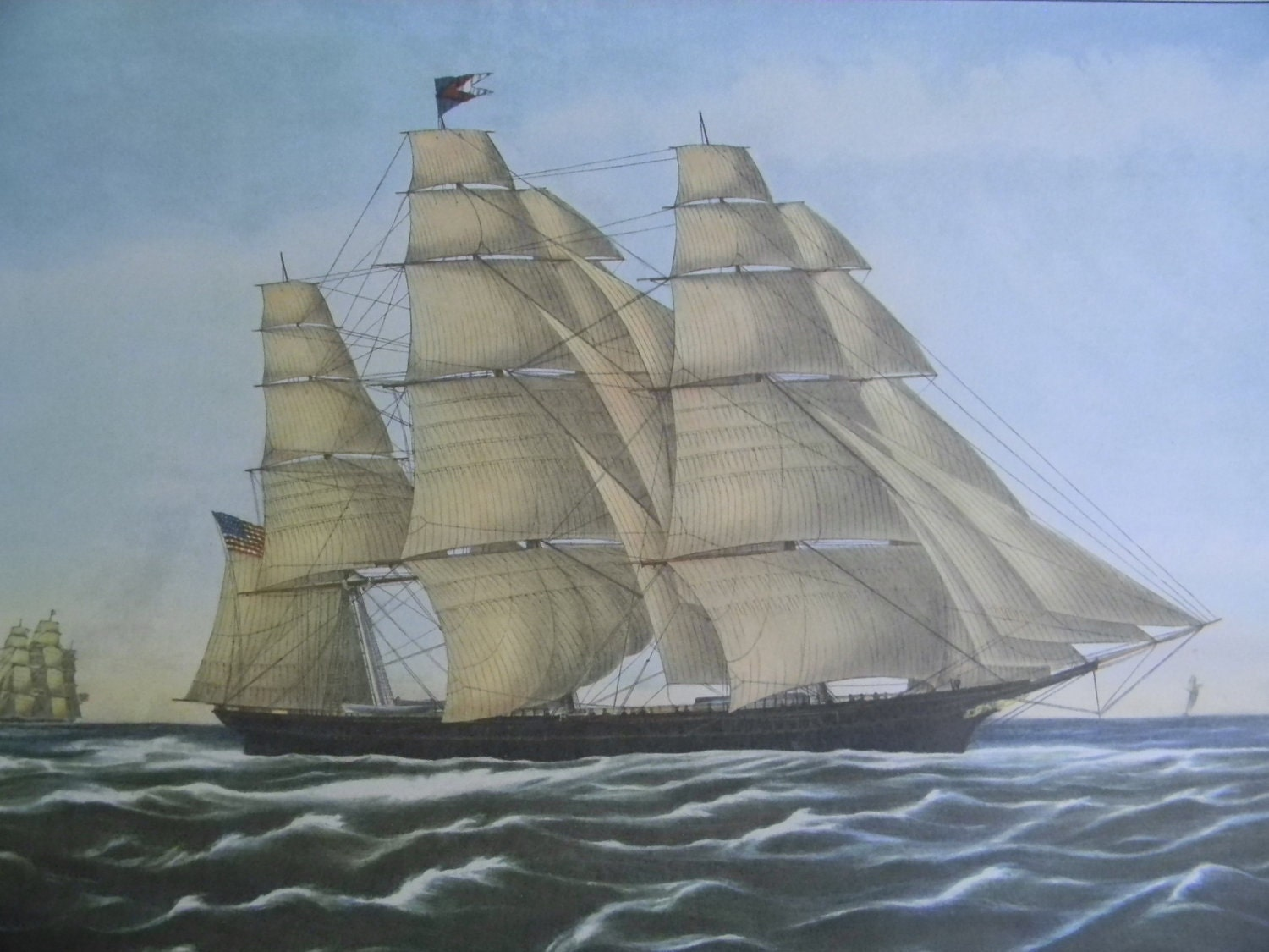 1952 Currier And Ives Clipper Ship Print Flying Cloud