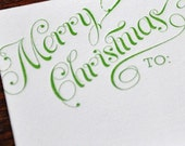 Merry Christmas Letterpress Gift Tags set of 12