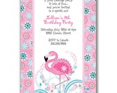 15 Pink Flamingo Invitations for Kids Birthday Party