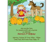 Pumpkins and Pony Rides Invitations for Kids Party
