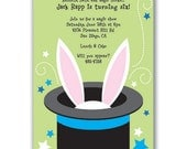 15 Magic Show Bunny Invitations Green for Kids Birthday Party