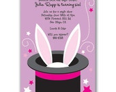 Magic Show Bunny Invitations Purple for Kids Birthday Party