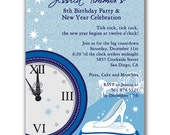 Fairytale Clock Invitations for New Year's Eve Party or Birthday Party
