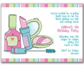 Pretty Makeup Invitations for Girls Birthday Party