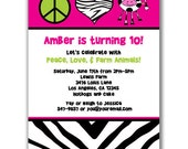 15 Peace Love and Farm Animals Invitations for Kids Birthday Party