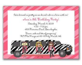 15 Zebra Limo Girls Invitations for Kids Birthday Party