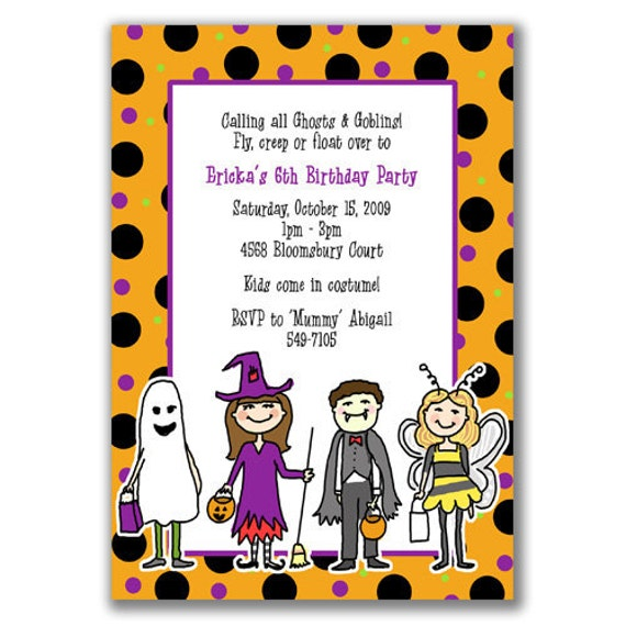 Items Similar To Kids Halloween Invitations For Boys Or