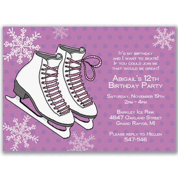 Items similar to 15 Ice Skates Invitations Girls for Birthday Party on Etsy