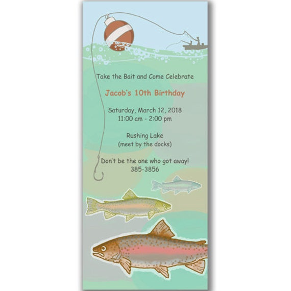 Items similar to let 39 s go fishing invitations for kids for Fishing birthday party invitations