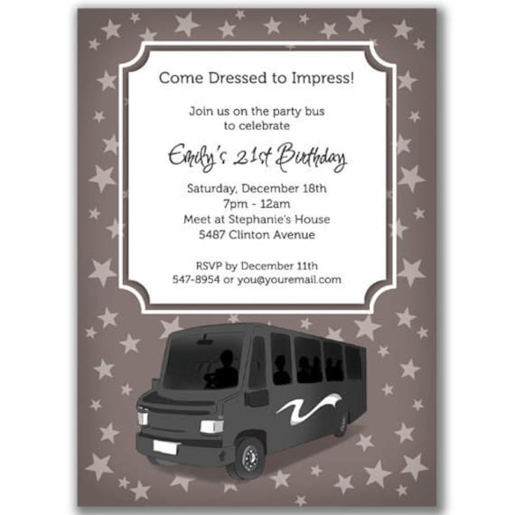 Items similar to 15 Party Bus Invitations Stars for a ...