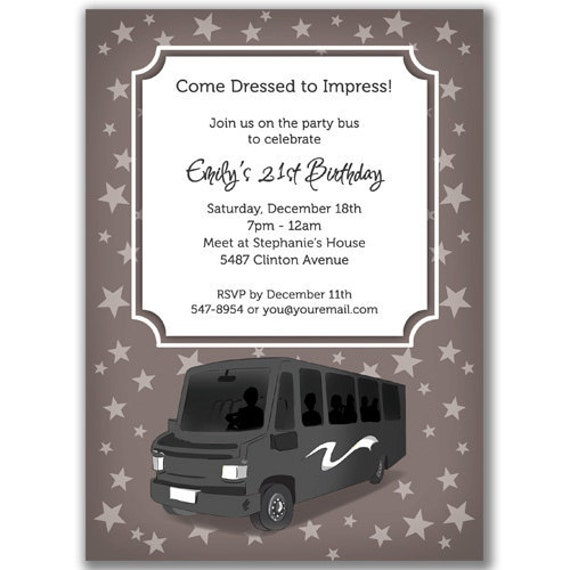 Items Similar To 15 Party Bus Invitations Stars For A Birthday Bridal Or Bachelorette Party On