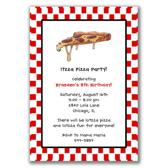 Pizza Party Invitation Wording – Pizza Party Invitation Wording