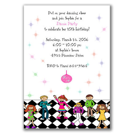 items similar to dance party invitations for kids birthday party on etsy