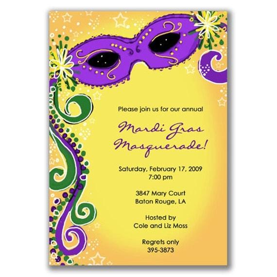 Items similar to Masquerade Invitations Purple and Yellow ...