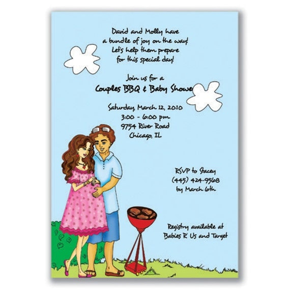 couples baby shower invitations for an outdoor grilling couples shower