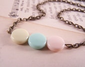 Black Friday Sale Pretty Pastels Antiqued Brass Necklace