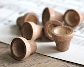 destash set of 7 little woodstained flower pots (3/4 inch)