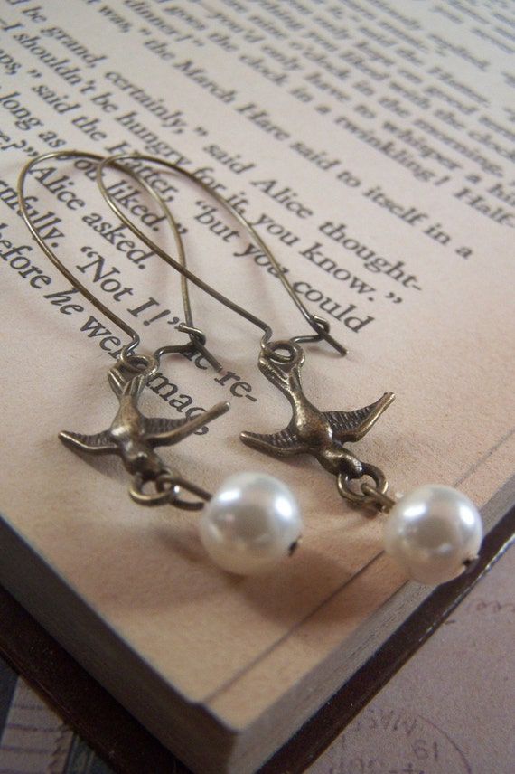 Flight of the Swallows Nickel-Free Antiqued Brass Earrings