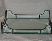 Stained Glass Leaded Glass Vanity Tray Clear Beveled Rectangle Design
