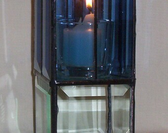 Reversible Candle Holder Stained Glass Leaded Glass Beveled