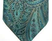 XXL Cotton Necktie, Gold on Blue/Green Paisley Print
