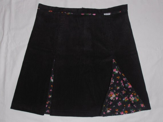 reserved for mariedoll69...pretty vintage floral and black corduroy Aline skirt with kick pleats