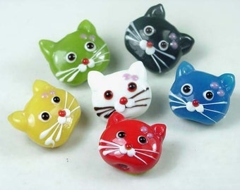 6 Cat Head Beads Lampwork Glass  22mm (L713)